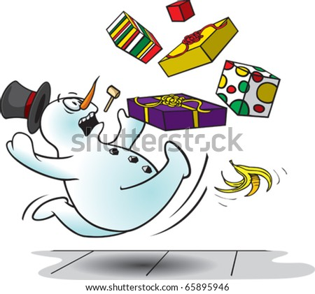 A cartoon snowman slipping on a banana peal. Layered vector file.