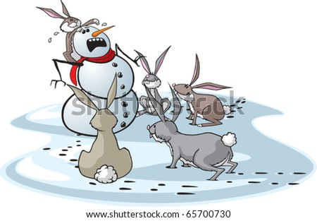 A cartoon snowman surrounded by hungry rabbits.