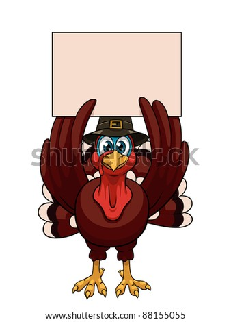 A cartoon thanksgiving turkey in a pilgrim hat with blank on white background