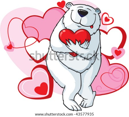 A cartoon Valentines bear with hearts. Hearts and bear are on separate layers.
