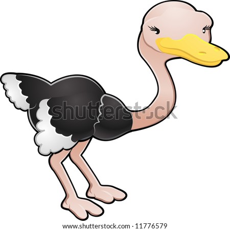 A cartoon vector illustration of a cute ostrich bird - stock vector