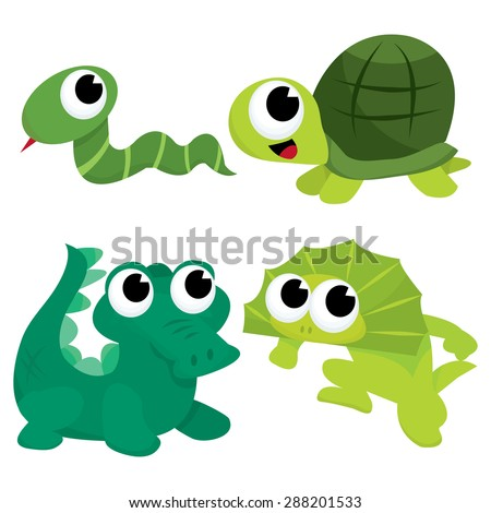 A cartoon vector illustration of a green reptiles animals like snake, turtle, crocodile and lizard.