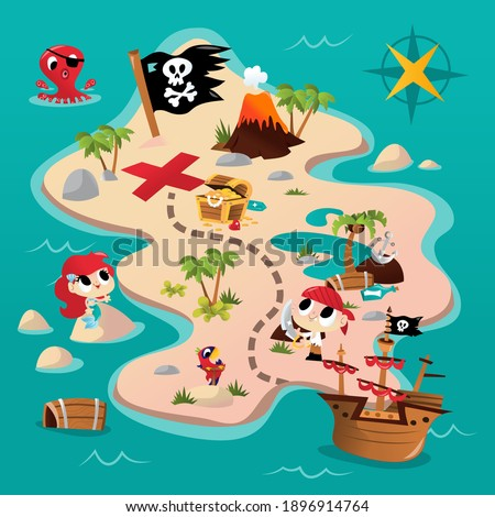 A cartoon vector illustration of a super cute pirate adventure map. The map has cute pirate and mermaid with ship, treasure chest and a volcano. Foto stock ©