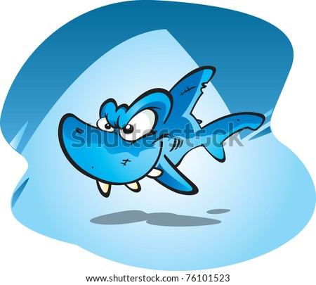 A cartoon vector illustration of a toothy reef shark.
