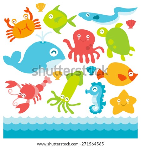 A cartoon vector illustration of fun happy colorful underwater animals set.