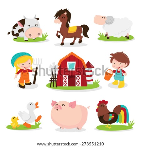 A cartoon vector illustration set of a group of happy barnyard farm animals and characters like cow, horse, sheep, farm girl, farm, farm boy, ducks, pig and rooster chicken.