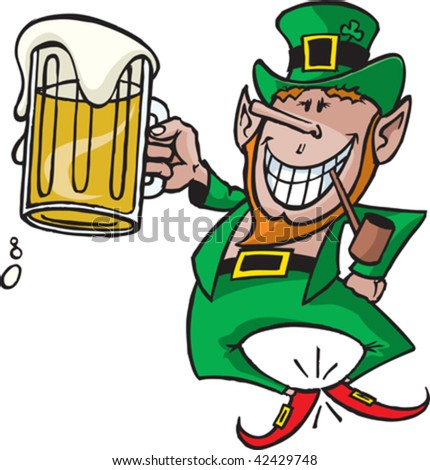 A cartoon vector Leprechaun with a beer.