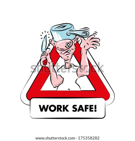a cartoon warning sign for kitchen safety a funny fat bald man with - Kitchen Safety