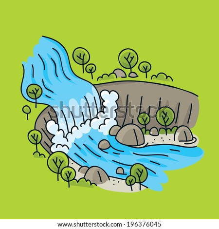 A cartoon waterfall in a bright, natural landscape.