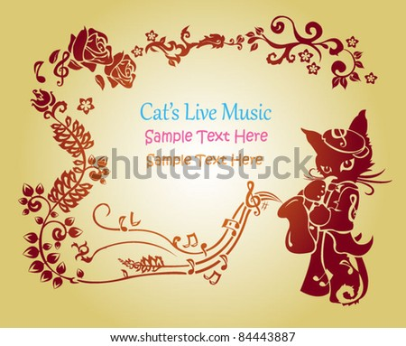 a cat playing music in floral style