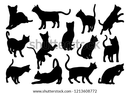 A cat silhouettes pet animals graphics set  #1213608772