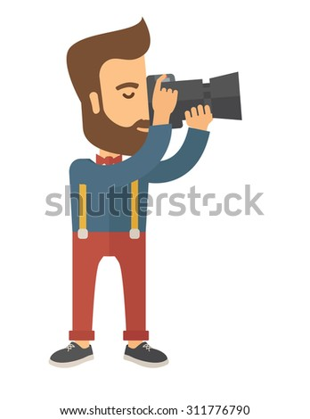 a caucasian photographer taking