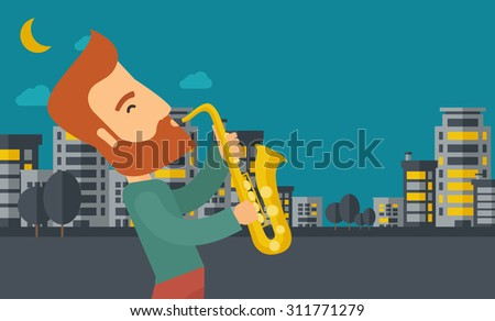 a caucasian saxophonist playing