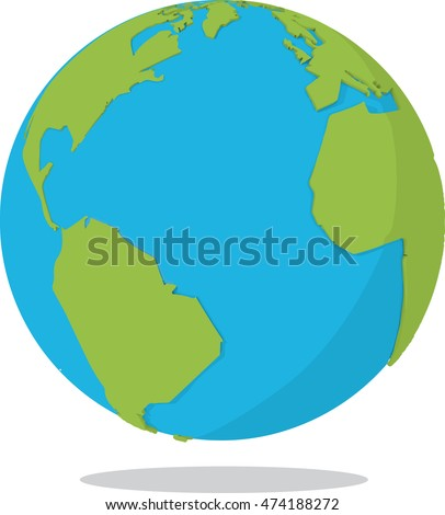 A cel shaded earth with extruded land mass