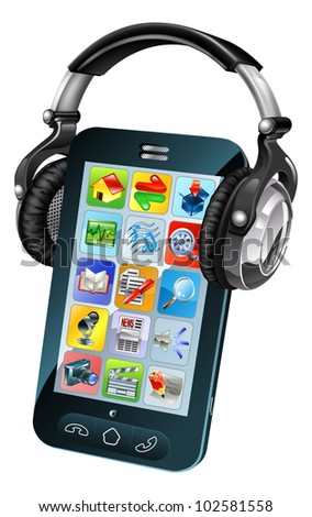 A cell phone wearing large dj headphones