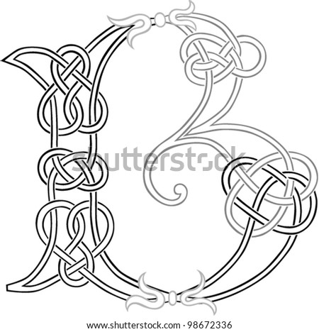 A Celtic Knot-work Capital Letter B Stylized Outline. Vector Version. - stock vector