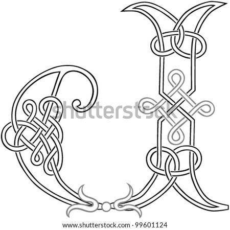 A Celtic Knot Work Capital Letter J Stylized Outline Vector Version