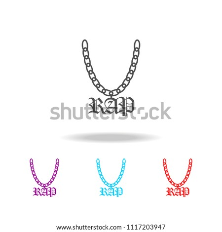 A chain with a symbol of rap icon. Elements of life style in multi colored icons. Premium quality graphic design icon. Simple icon for websites, web design, mobile app on white background