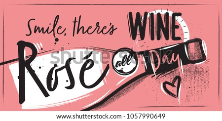 A Chalk pink poster with a  bottle of rose wine and lettering. Pink Background