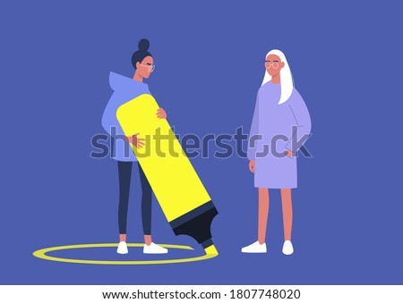 A character drawing a line around themselves with a neon yellow highlighter, a virus spread prevention, personal boundaries Сток-фото ©