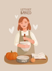 A cheerful girl in an apron mixes ingredients in a bowl. Wooden table, pumpkin, apple. Baking dish and recipe book. Let's get baked lettering. Hand-drawn vector illustration. Cozy mood, homemade cakes