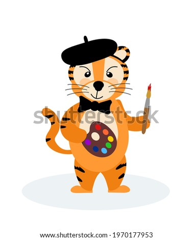 A cheerful striped tiger artist in a bow tie, a beret with a brush and paints, the symbol of 2022. Vector illustration isolated on a white background drawn by hand. For printing children's T-shirts, p Zdjęcia stock ©