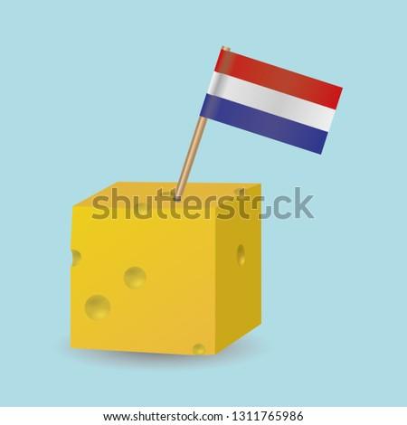 a cheese cube with a dutch flag