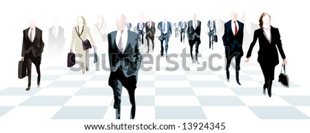 A Chess board of Business people.