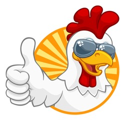 A chicken rooster cockerel bird cartoon character in cool shades or sunglasses giving a thumbs up