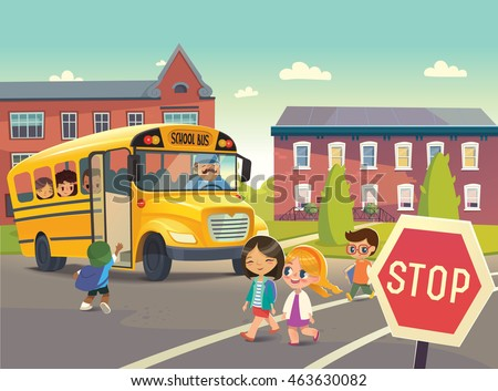 A child boarding the school bus at the school bus stop. Group of Kids crossing the road. Vector illustration.