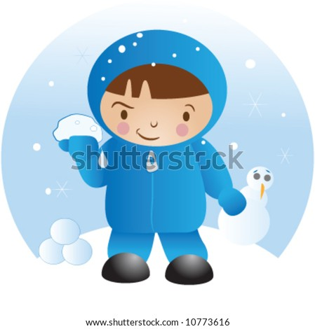 stock vector : a child getting ready for a snowball fight.
