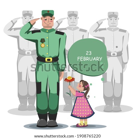 a child gives a soldier a