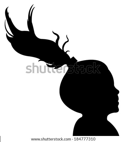 a girl head silhouette vector a child head silhouette vector