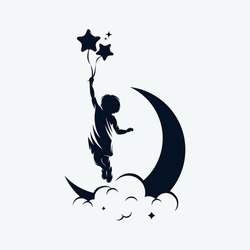 A child is flying holding balloons on the moon logo design template