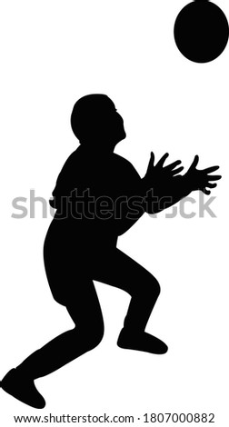 a child playing with ball, silhouette vector