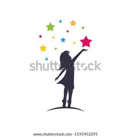 a child take a star logo design