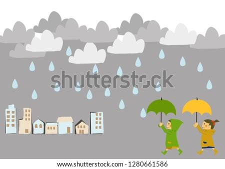 A child wearing a raincoat. Illustration for the rainy season.Seasonal clip art.