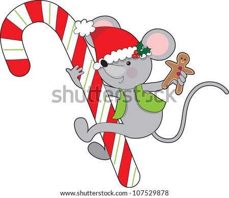 A childlike mouse wearing a vest and Santa hat while holding a gingerbread man cookie, is holding on to a huge Christmas candy cane. Candy Cane Mouse