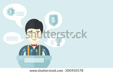 asia business report presenters podium