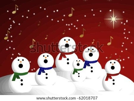 a choir of snowmen singing