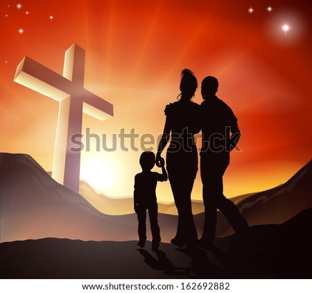 A Christian family walking towards a cross in a mountain landscape with sunrise over mountains, Christian lifestyle concept