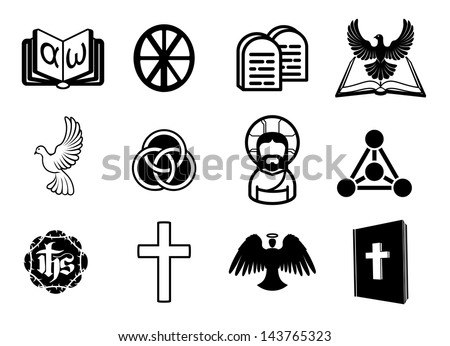 A Christian religious icon set with signs and symbols related to Christian themes