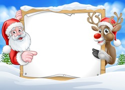 A Christmas background with Santa Claus and his reindeer peeking around a sign with copy space