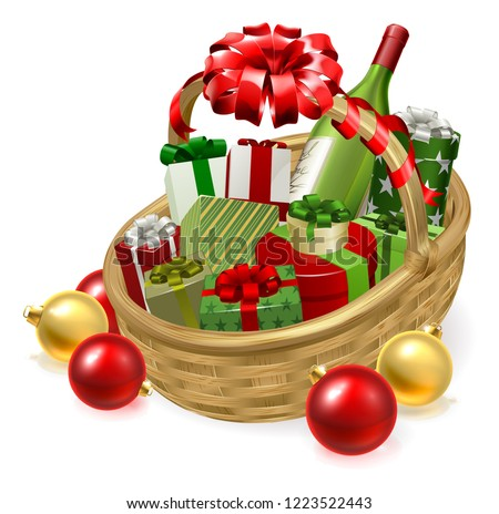 A Christmas hamper gift basket graphic illustration with baubles and bow ribbon Stockfoto ©