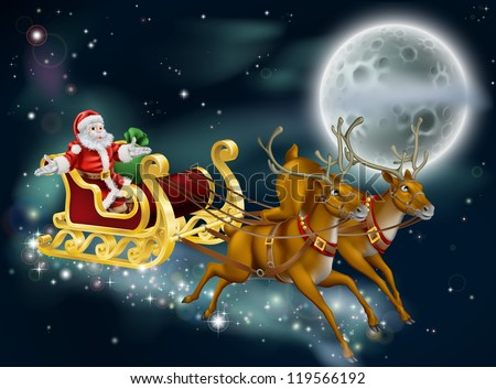 A Christmas illustration of Santa delivering gifts on Christmas Eve night with the moon in the background