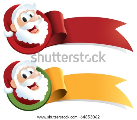 A Christmas ribbon with santa claus cartoon. Just ad text! Perfect for web buttons, tags, banners, signs and stickers.