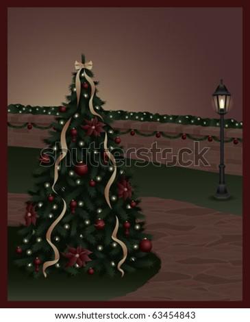 A Christmas tree along a stone pathway