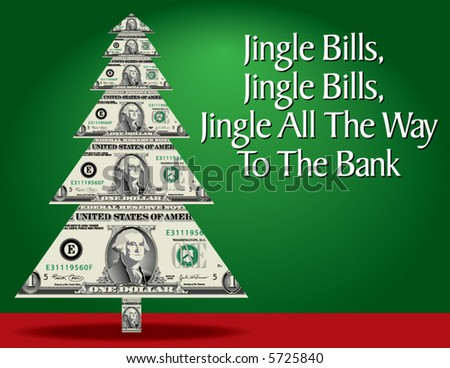 A christmas tree made of dollar bills with a clever pun as well