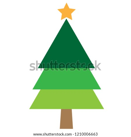 a christmas tree using different shades of green with a yellow star on the top. #1210006663