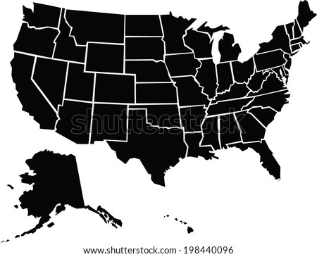 Shutterstock A chunky, cartoon map of the USA including Alaska and Hawaii.